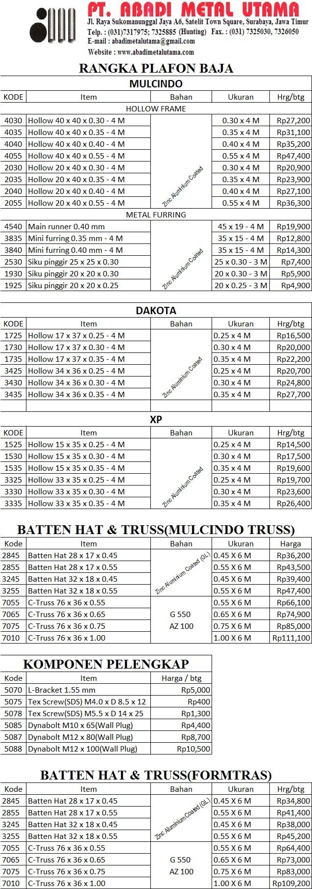 Daftar Harga Rangka Atap Galvalum 29 Maret 2016